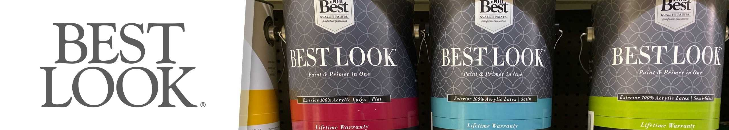 Best Look logo with Best Look paint cans