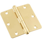 National 3-1/2 In. x 1/4 In. Radius Solid Brass Door Hinge Image 1