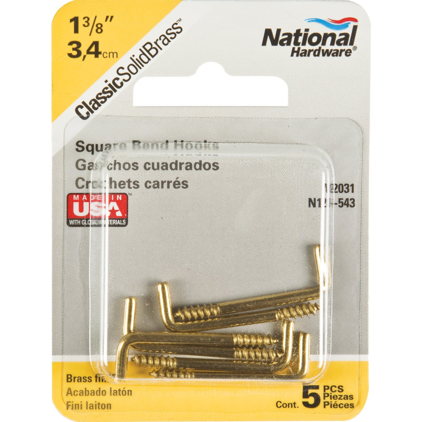 National #112 Square Bend Screw Hook Shoulder Hook (5 Count) Image 2