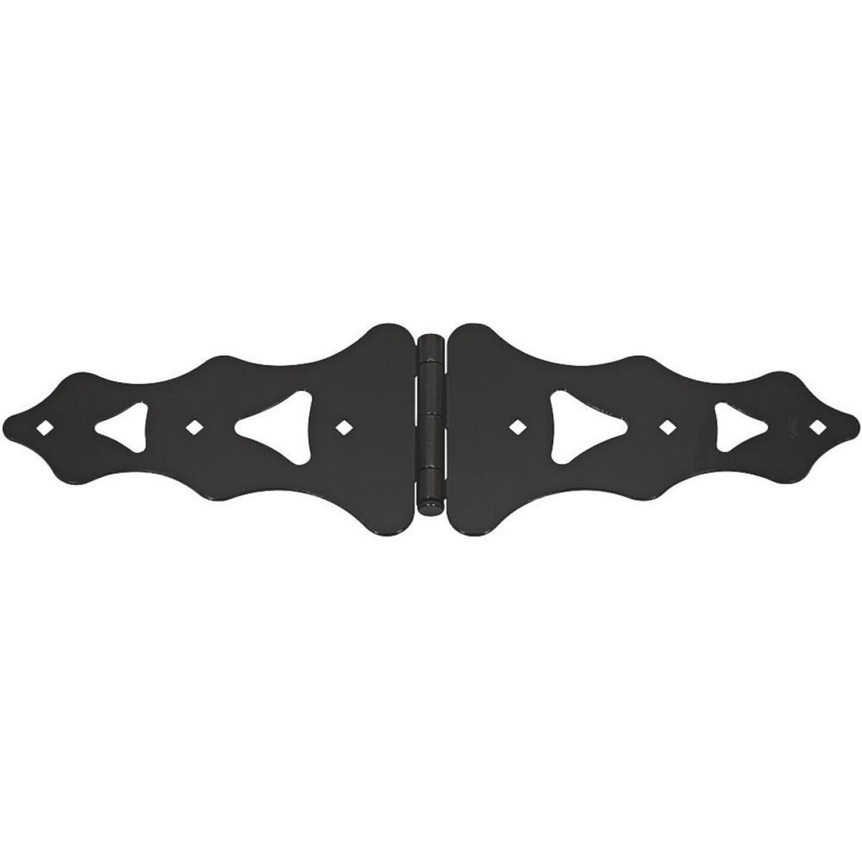 National 10 In. Black Ornamental Strap Hinge Image 1
