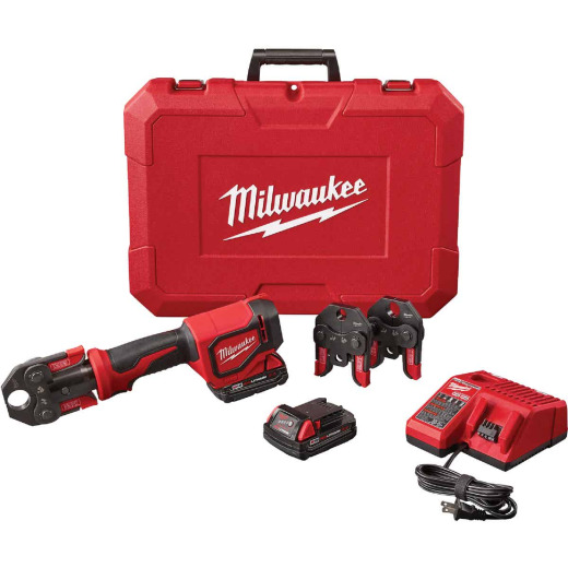 Milwaukee M18 18 Volt Lithium-Ion Short Throw Cordless Press Tool Kit w/3 PEX Crimp Jaws