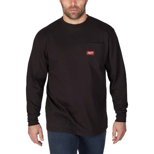 Milwaukee Small Black Long Sleeve Men's Heavy-Duty Pocket Shirt